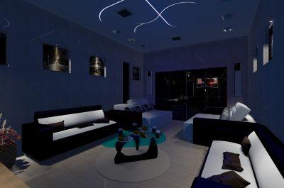 Altbausanierung Badsanierung Küche Schrankraum Interior Design blaues Wohnzimmer Strohmaier